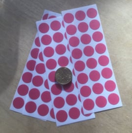 24 Ronde stickers fuchsia/licht paars/rose 13 mm