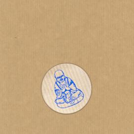 5 Boeddha stickers rond 3,5 cm kraft