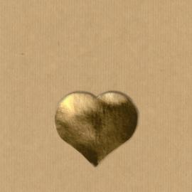 5 Hartje stickers  3 - 2,6 cm goud