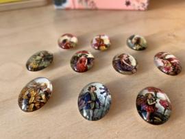 10 Glazen Bloemenelfjes magneetjes set 5