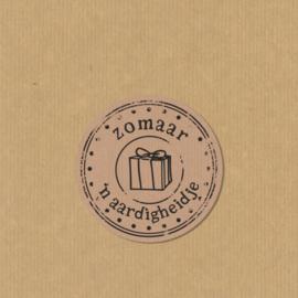 5 zomaar 'n aardigheidje stickers rond 3,5 cm kraft