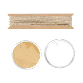 Labels, craftpapier rond wit en kraftpapier en inpaktouw