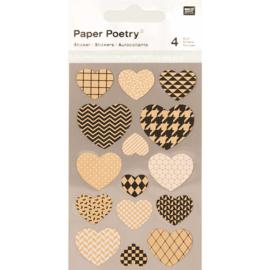 Stickerhartjes kraftpapier motief, 4 blaadjes