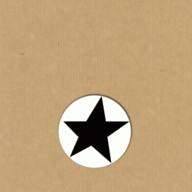 5 ster-stickers rond 4 cm wit-zwart