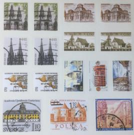 Retro-postzegel-stickers van gebouwen 96 stuks