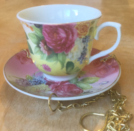 Bird feeder TEACUP YELLOW