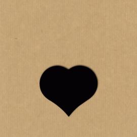 5 Hartje stickers  4,3 - 3,6 cm mat zwart