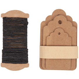 Labels, craftpapier ornamentrandje en inpaktouw