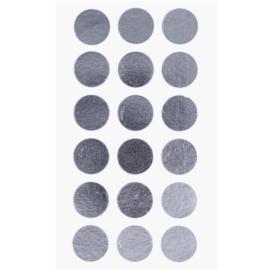 Ronde stickers zilver 15 mm, 4 x 18 stuks