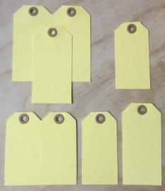 4 labels geel met bruin oog 3,5-7 of 4-8 cm