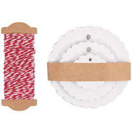 30 Gift Tags Rossete, White Paper, wrapping rope