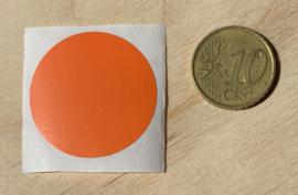 Ronde stickers 3 cm oranje per 1, 5, 10, 25, 50 of 100 stuks, vanaf