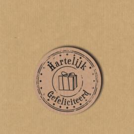 5 Hartelijk gefeliciteerd stickers rond 3,5 cm kraft