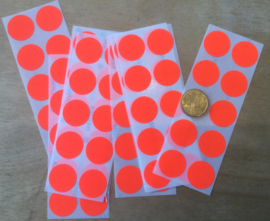 10 Ronde stickers neon rood 19 mm
