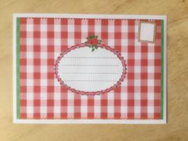 Enveloppe rood ruitje mét of zonder bijzondere kaart en sluitzegel