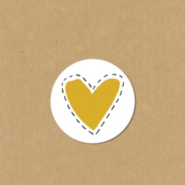 5 Hartje stickers rond 4,7 cm