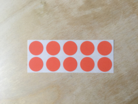 10 Ronde stickers rood 19 mm