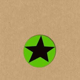 5 ster-stickers rond 4 cm limoen-zwart