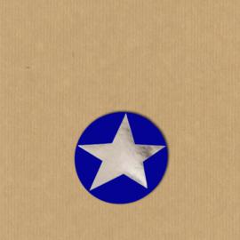 5 ster-stickers rond 4 cm zilver-blauw