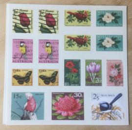 Retro Natuur-postzegel-stickers 96 stuks