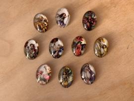 10 Glazen Bloemenelfjes magneetjes set 4