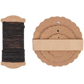 Labels, craftpapieren rosetten en inpaktouw