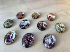 10 Glazen Bloemenelfjes magneetjes set 3