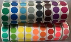 Ronde stickers 3 cm alle 20 kleuren van ieder 5 stuks