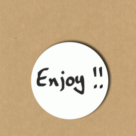 5 'Enjoy!!'-stickers rond 4 cm
