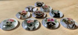 10 Glazen bloemen babydieren magneetjes Ø 2,2 cm