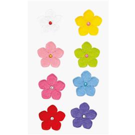 8 Viltstickers gekleurde bloemen 2,6 cm