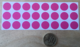 24 Ronde stickers rose/fuchsia 13 mm