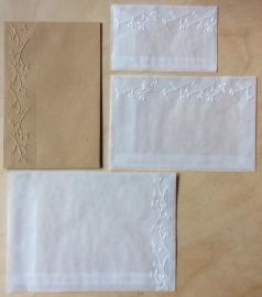 RAND MIT BLÜTE 10 Pergamin umschläge und braune löhntute