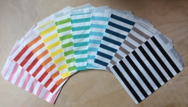 5 Gift Bags  TRANSVERSE STRIPES, 13 by 16,5 cm, by color