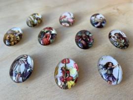 10 Glazen Bloemenelfjes magneetjes set 2