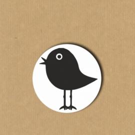 5 vogel-stickers rond 3, 9 cm
