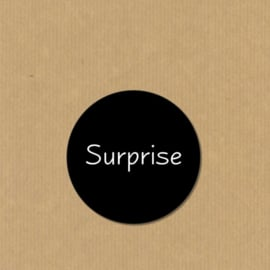 5 Surprise stickers rond 4,7 cm zwart