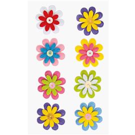 8 Viltstickers bloemenmix 2,6 cm