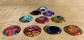 10 Glazen Pauwenveer magneetjes Ø 2 cm