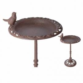 Cast iron Bird bath on high stand, 1 bird