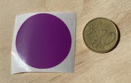 Ronde stickers 3 cm donker paars per 1, 5, 10, 25, 50 of 100 stuks, vanaf