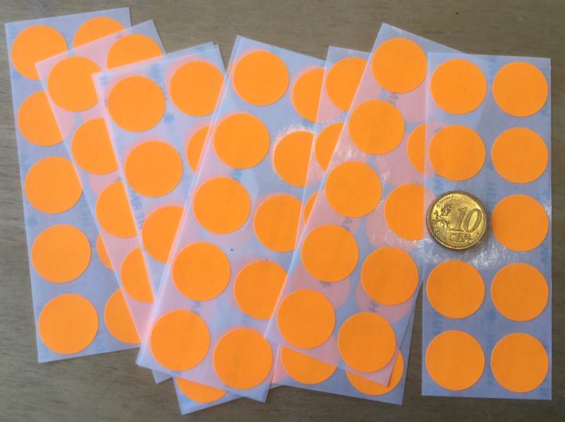 10 Ronde stickers neon oranje 19 mm