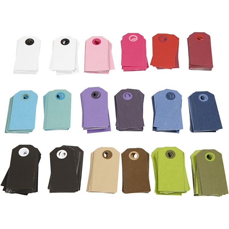 9 Gekleurde labeltjes assorti 6-3 cm