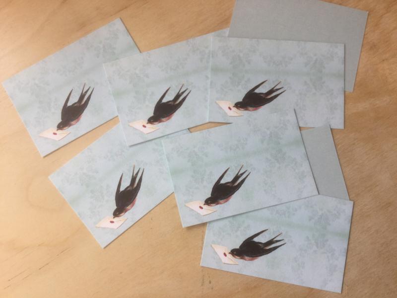 10 zwaluw Bedank-kaartjes 8,5 bij 5,5 cm
