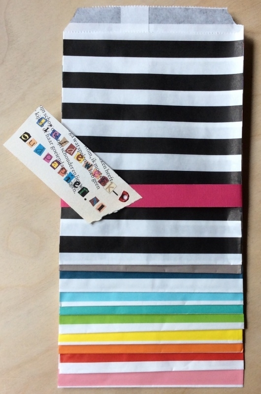 10 Gift Bags  TRANSVERSE STRIPES, 13 by 16,5 cm