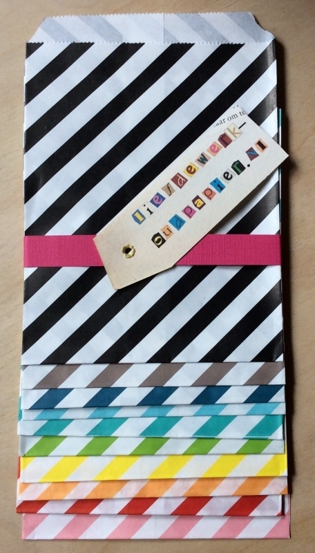 10 Gift Bags  OBLIQUE STRIPES, 13 by 16,5 cm