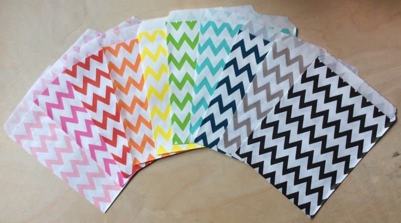 5 Gift Bags  ZIG-ZAG, 13 by 16,5 cm, by color