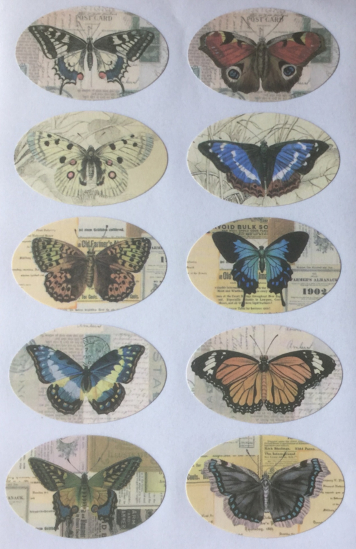 Vlinder retro stickers 20 stuks