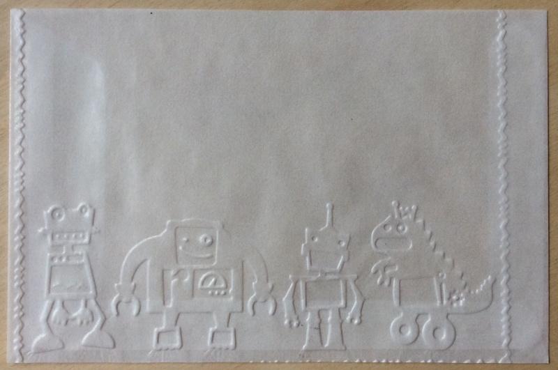 ROBOTS  10 Pergamijn enveloppenen of bruine  loonzakjes