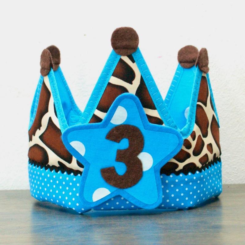 Verjaardagskroon Happy Giraf blauw
